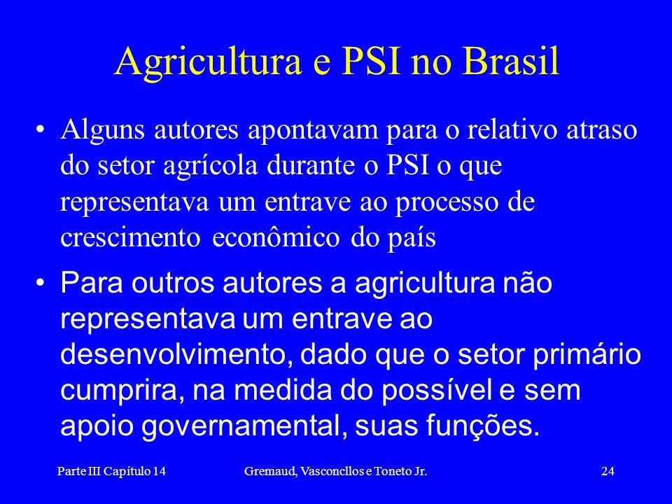 Parte III Capítulo 14Gremaud, Vasconcllos e Toneto Jr.24 Agricultura e PSI no Brasil Alguns autores apontavam para o relativo atraso do setor agrícola