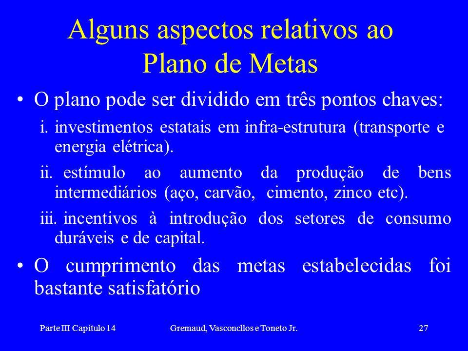 Parte III Capítulo 14Gremaud, Vasconcllos e Toneto Jr.27 Alguns aspectos relativos ao Plano de Metas O plano pode ser dividido em três pontos chaves: