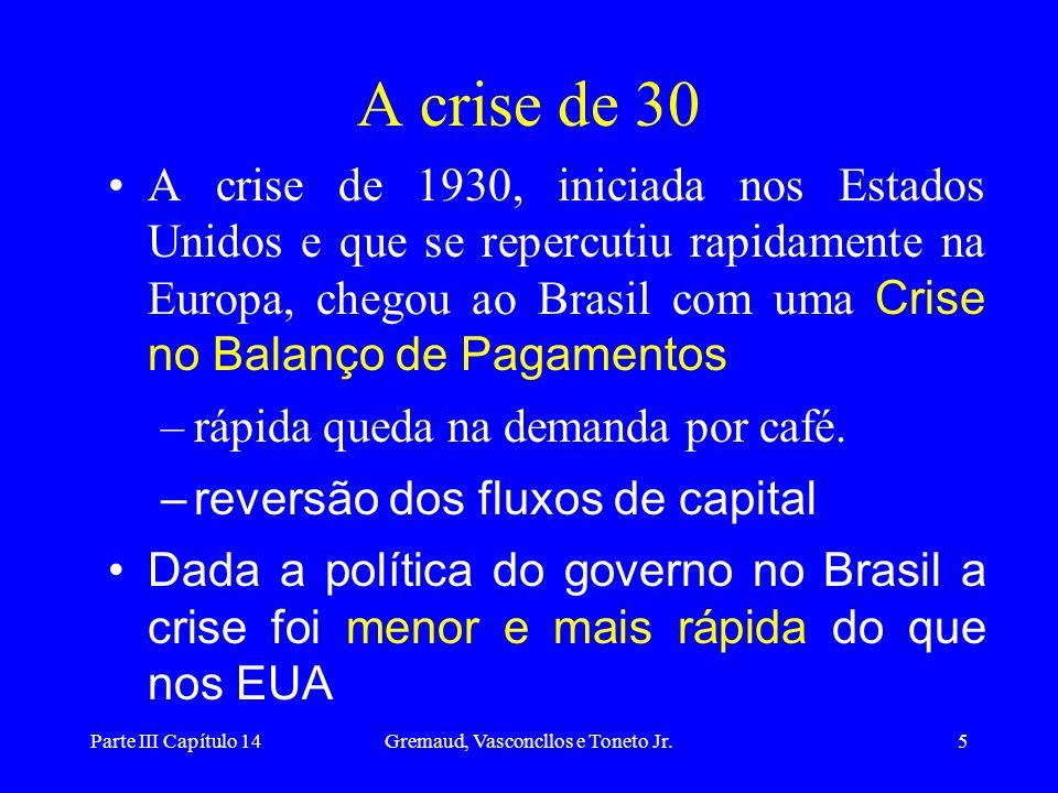 Parte III Capítulo 14Gremaud, Vasconcllos e Toneto Jr.5 A crise de 30 A crise de 1930, iniciada nos Estados Unidos e que se repercutiu rapidamente na