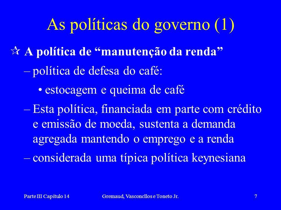 Parte III Capítulo 14Gremaud, Vasconcllos e Toneto Jr.7 As políticas do governo (1) ¶ A política de manutenção da renda –política de defesa do café: e
