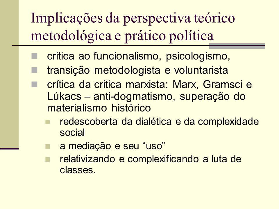 Implicações da perspectiva teórico metodológica e prático política critica ao funcionalismo, psicologismo, transição metodologista e voluntarista crít