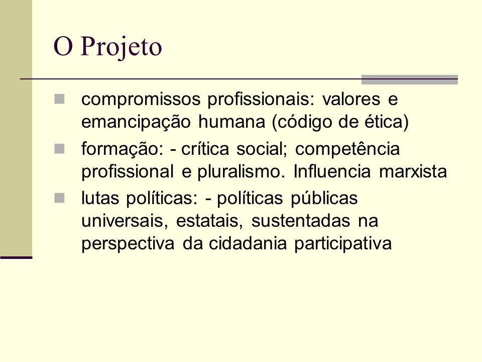 O Projeto compromissos profissionais: valores e emancipação humana (código de ética) formação: - crítica social; competência profissional e pluralismo