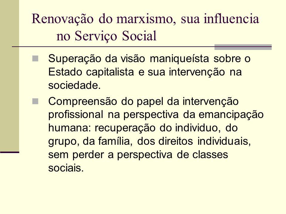 Renovação do marxismo, sua influencia no Serviço Social Superação da visão maniqueísta sobre o Estado capitalista e sua intervenção na sociedade. Comp