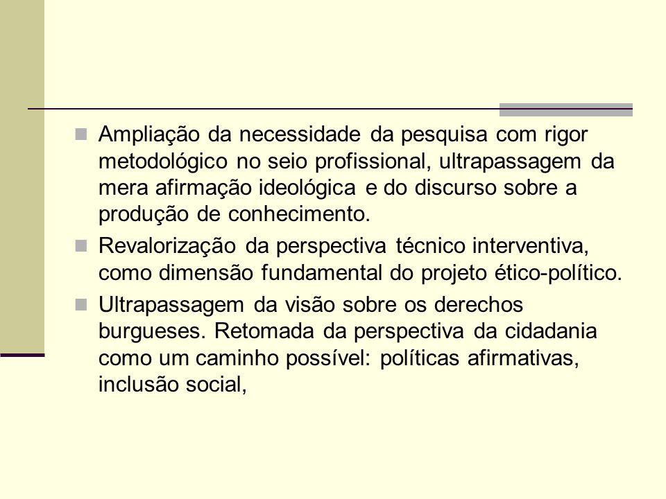 Ampliação da necessidade da pesquisa com rigor metodológico no seio profissional, ultrapassagem da mera afirmação ideológica e do discurso sobre a pro
