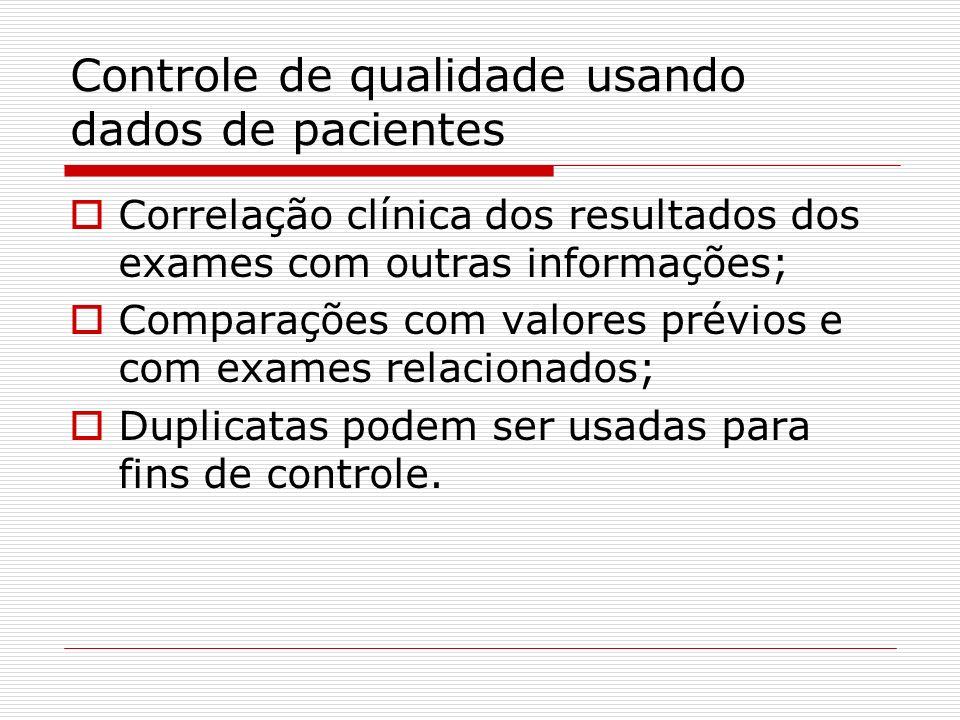 Controle de qualidade usando dados de pacientes Correlação clínica dos resultados dos exames com outras informações; Comparações com valores prévios e