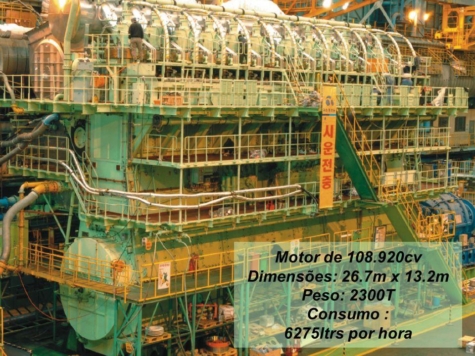 Motor de 108.920cv Dimensões: 26.7m x 13.2m Peso: 2300T Consumo : 6275ltrs por hora