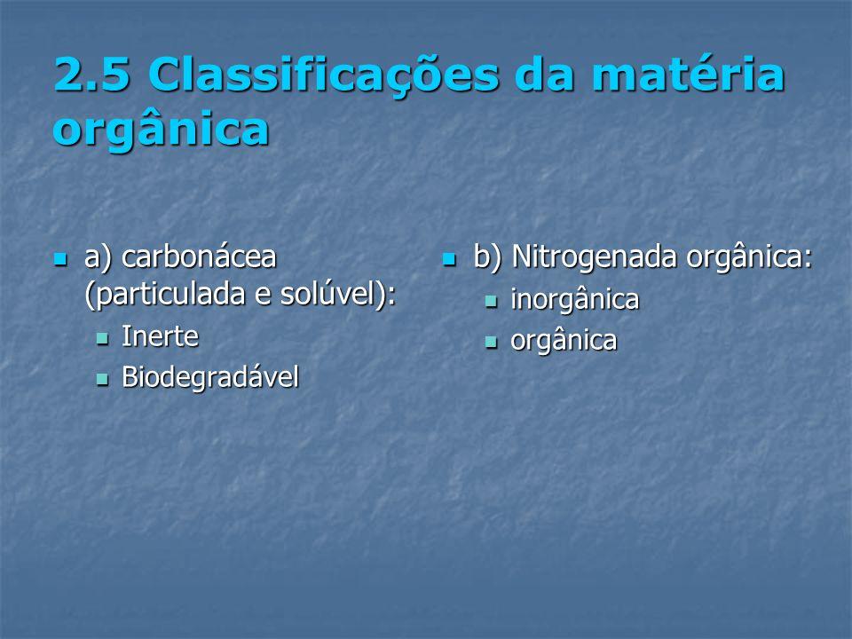 2.5 Classificações da matéria orgânica a) carbonácea (particulada e solúvel): a) carbonácea (particulada e solúvel): Inerte Inerte Biodegradável Biode