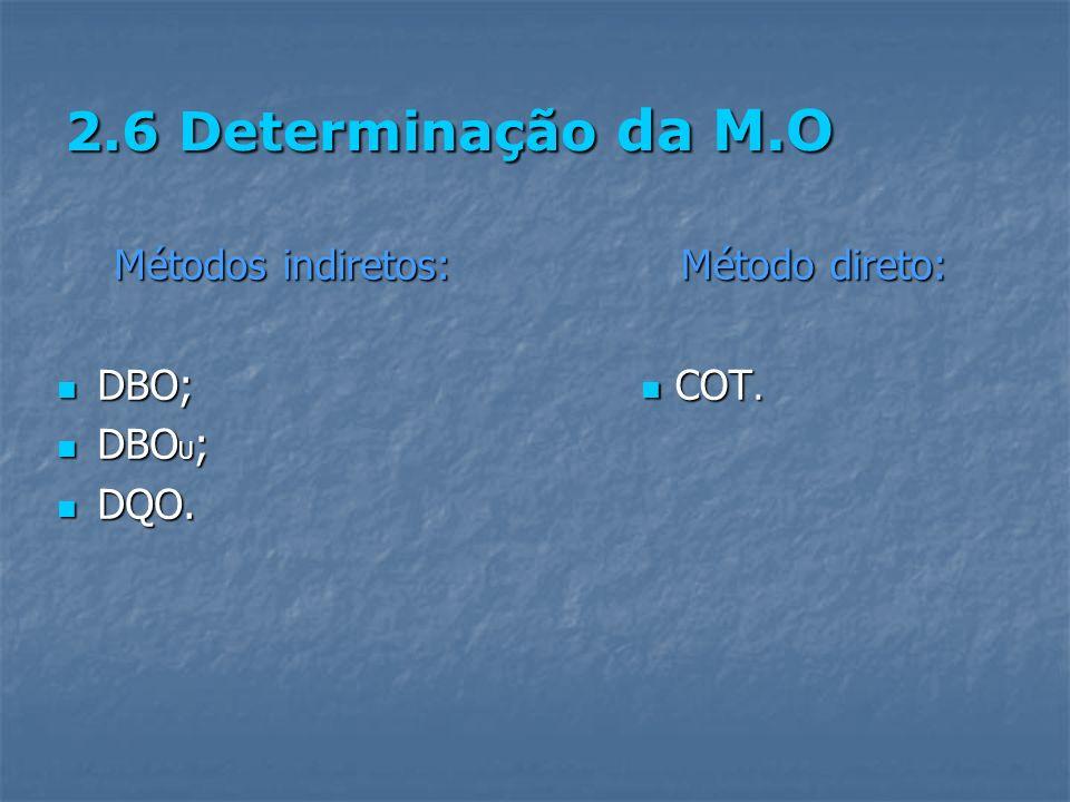 2.6 Determinação da M.O Métodos indiretos: DBO; DBO; DBO U ; DBO U ; DQO. DQO. Método direto: COT.