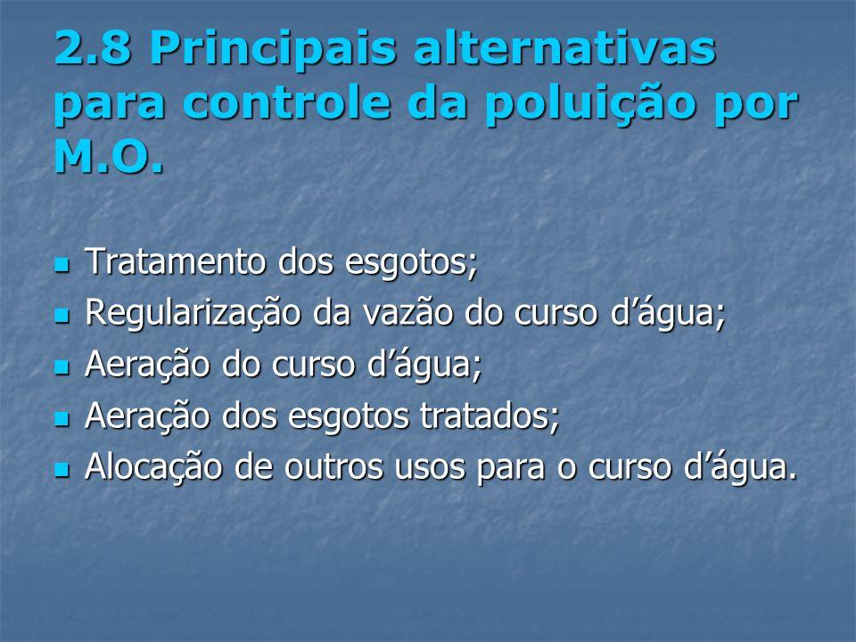 2.8 Principais alternativas para controle da poluição por M.O. Tratamento dos esgotos; Tratamento dos esgotos; Regularização da vazão do curso dágua;