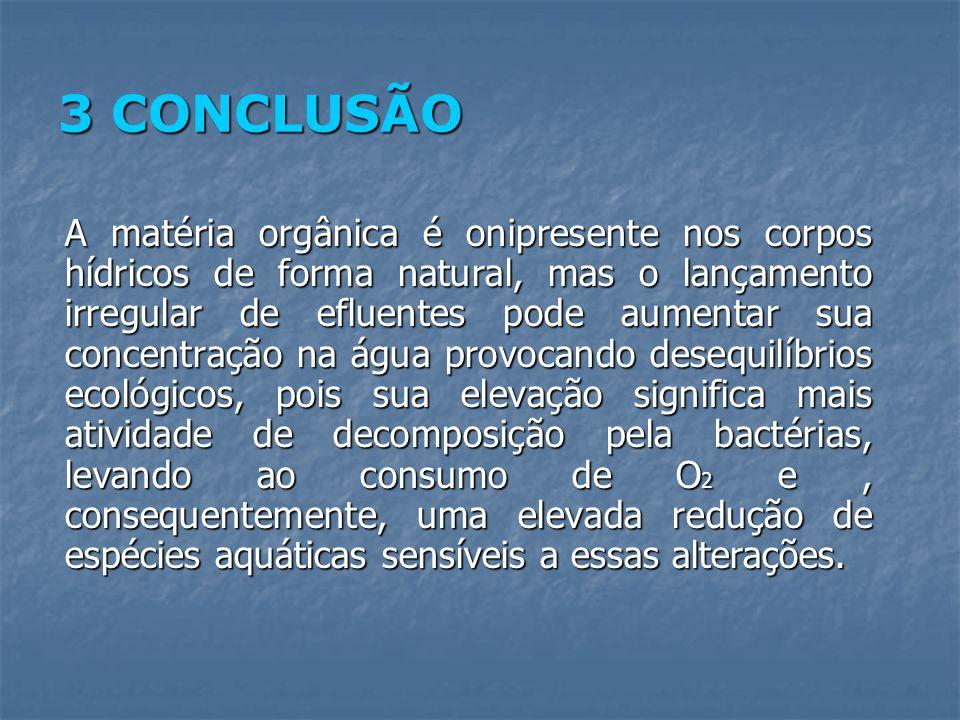 3 CONCLUSÃO A matéria orgânica é onipresente nos corpos hídricos de forma natural, mas o lançamento irregular de efluentes pode aumentar sua concentra
