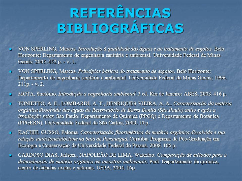 REFERÊNCIAS BIBLIOGRÁFICAS VON SPERLING, Marcos. Introdução à qualidade das águas e ao tratamento de esgotos. Belo Horizonte: Departamento de engenhar