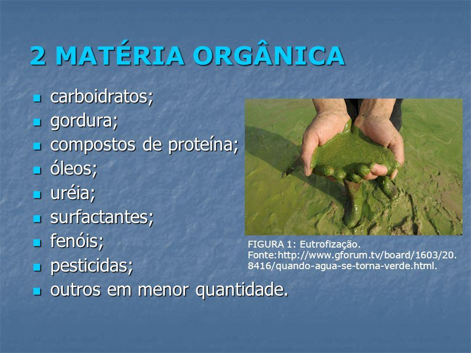 2 MATÉRIA ORGÂNICA carboidratos; carboidratos; gordura; gordura; compostos de proteína; compostos de proteína; óleos; óleos; uréia; uréia; surfactante
