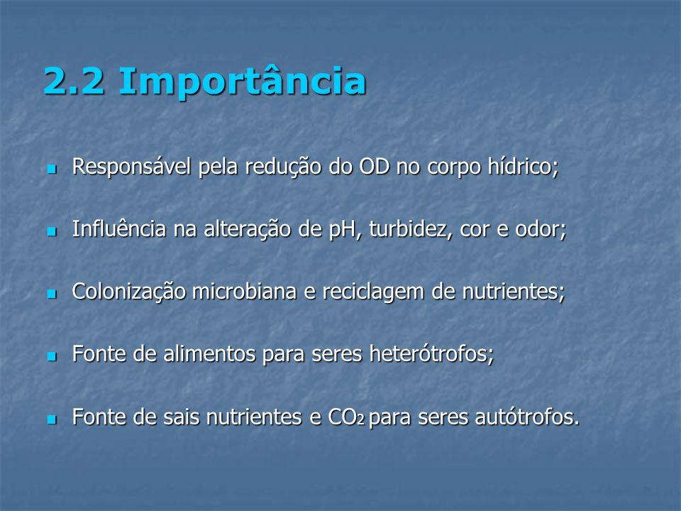 2.2 Importância Responsável pela redução do OD no corpo hídrico; Responsável pela redução do OD no corpo hídrico; Influência na alteração de pH, turbi