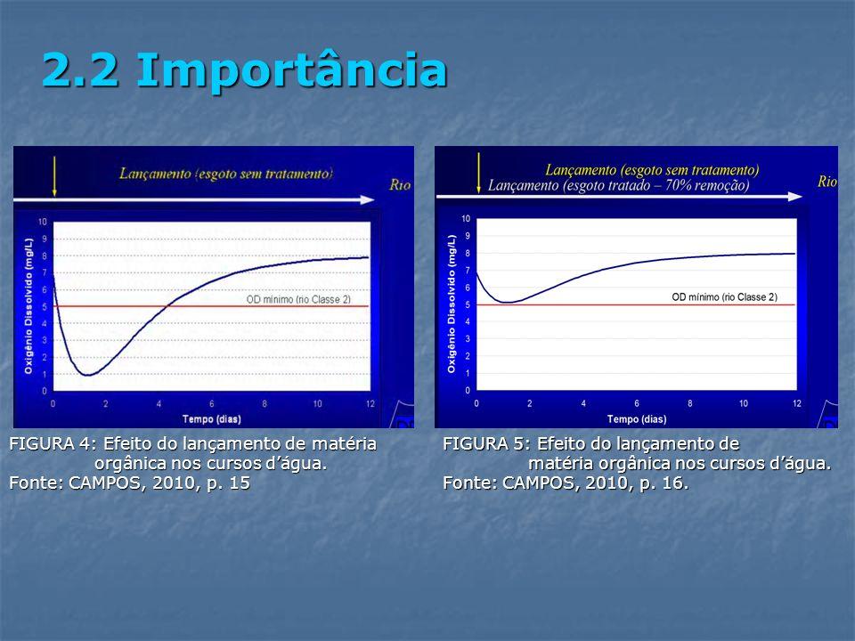 FIGURA 4: Efeito do lançamento de matéria orgânica nos cursos dágua. Fonte: CAMPOS, 2010, p. 15 2.2 Importância FIGURA 5: Efeito do lançamento de maté
