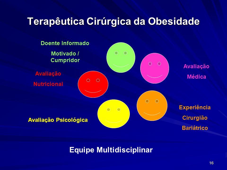 16 Terapêutica Cirúrgica da Obesidade Avaliação Nutricional Doente Informado Motivado / Cumpridor Avaliação Psicológica Avaliação Médica Experiência C