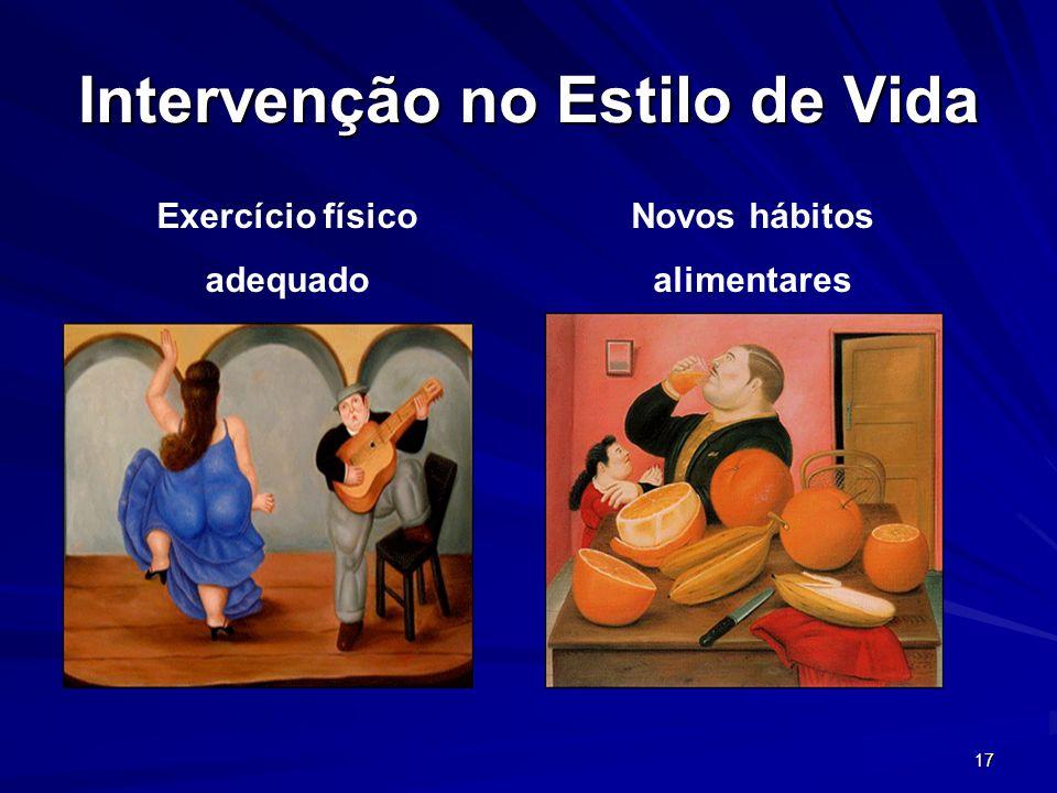 17 Intervenção no Estilo de Vida Exercício físico adequado Novos hábitos alimentares