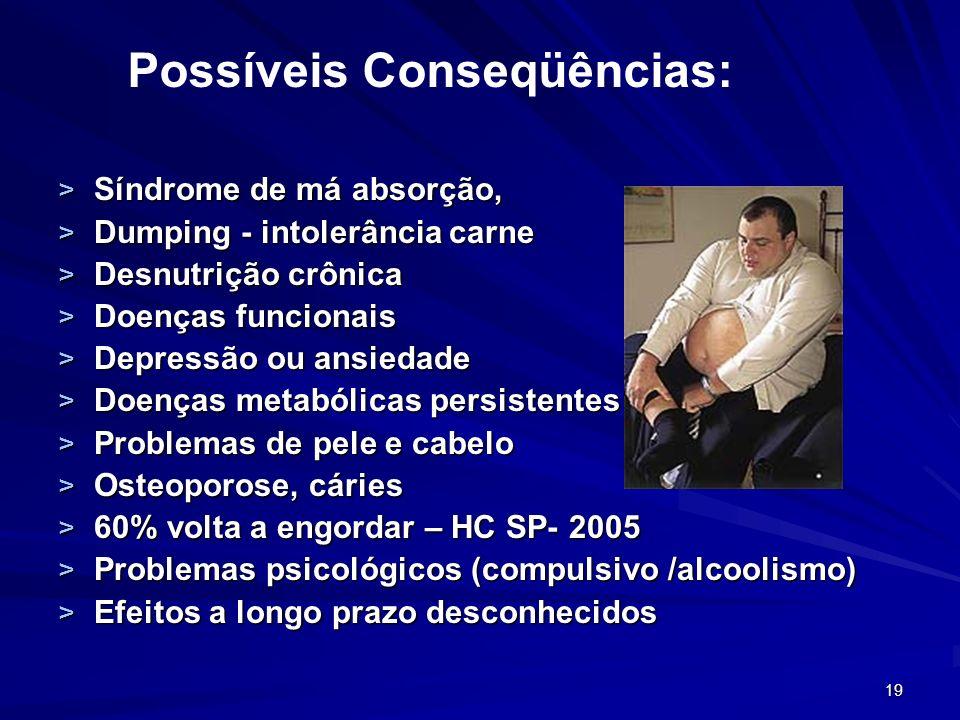19 > Síndrome de má absorção, > Dumping - intolerância carne > Desnutrição crônica > Doenças funcionais > Depressão ou ansiedade > Doenças metabólicas