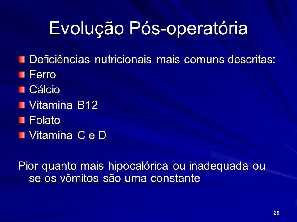 28 Evolução Pós-operatória Deficiências nutricionais mais comuns descritas: FerroCálcio Vitamina B12 Folato Vitamina C e D Pior quanto mais hipocalórica ou inadequada ou se os vômitos são uma constante