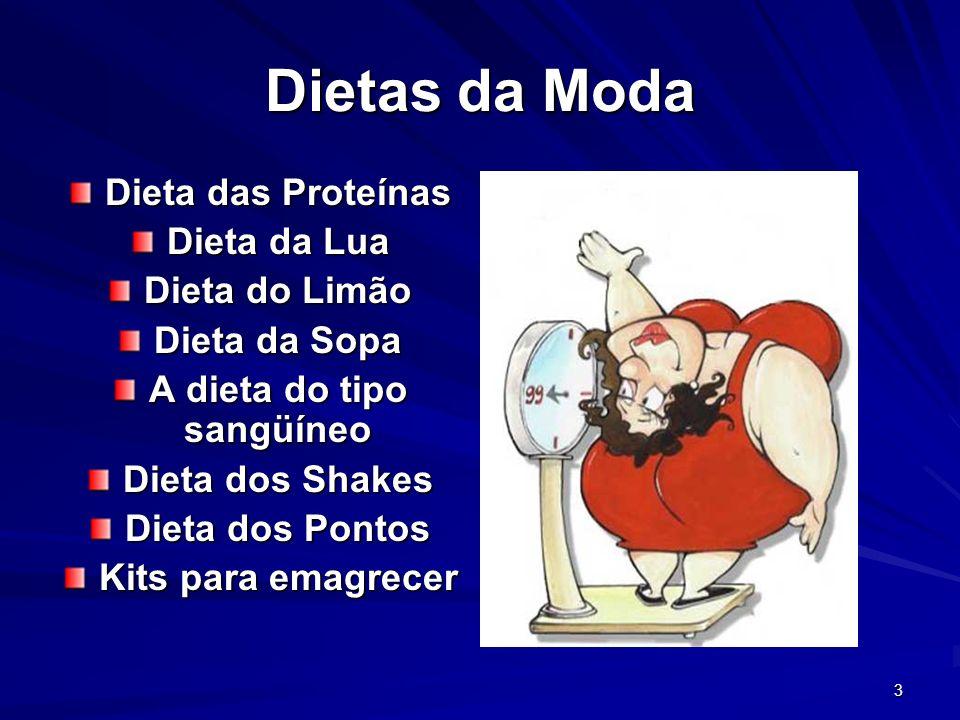 3 Dietas da Moda Dieta das Proteínas Dieta da Lua Dieta do Limão Dieta da Sopa A dieta do tipo sangüíneo Dieta dos Shakes Dieta dos Pontos Kits para emagrecer
