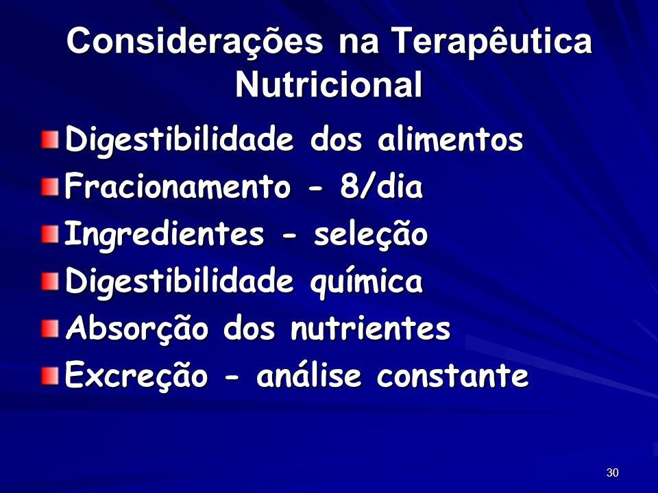 30 Considerações na Terapêutica Nutricional Digestibilidade dos alimentos Fracionamento - 8/dia Ingredientes - seleção Digestibilidade química Absorção dos nutrientes Excreção - análise constante