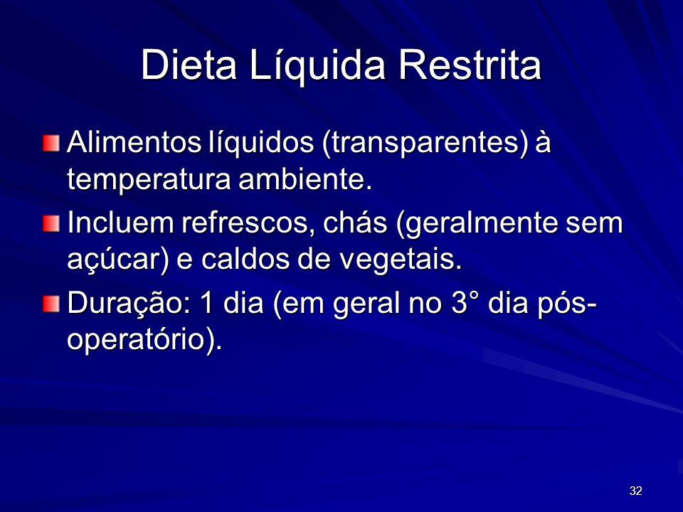 32 Dieta Líquida Restrita Alimentos líquidos (transparentes) à temperatura ambiente. Incluem refrescos, chás (geralmente sem açúcar) e caldos de veget