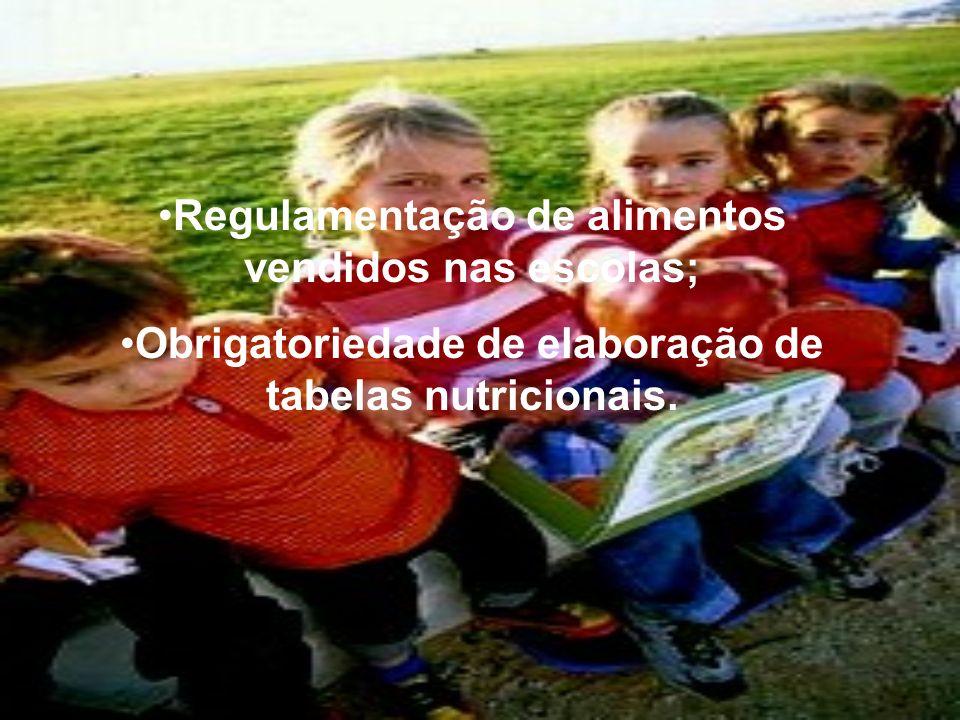 Regulamentação de alimentos vendidos nas escolas; Obrigatoriedade de elaboração de tabelas nutricionais.