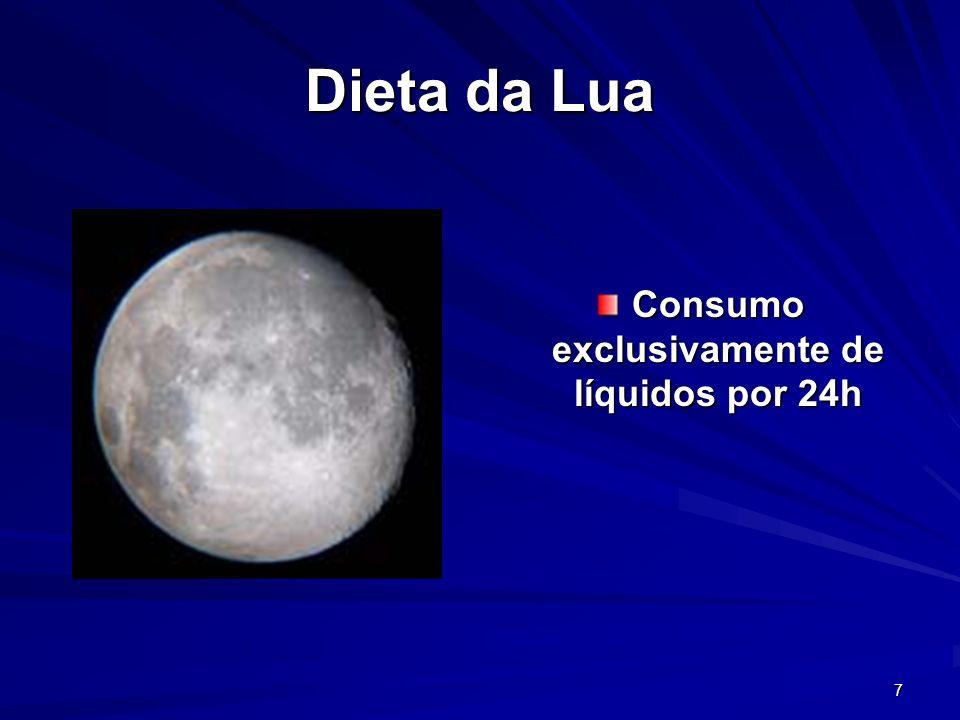 7 Dieta da Lua Consumo exclusivamente de líquidos por 24h