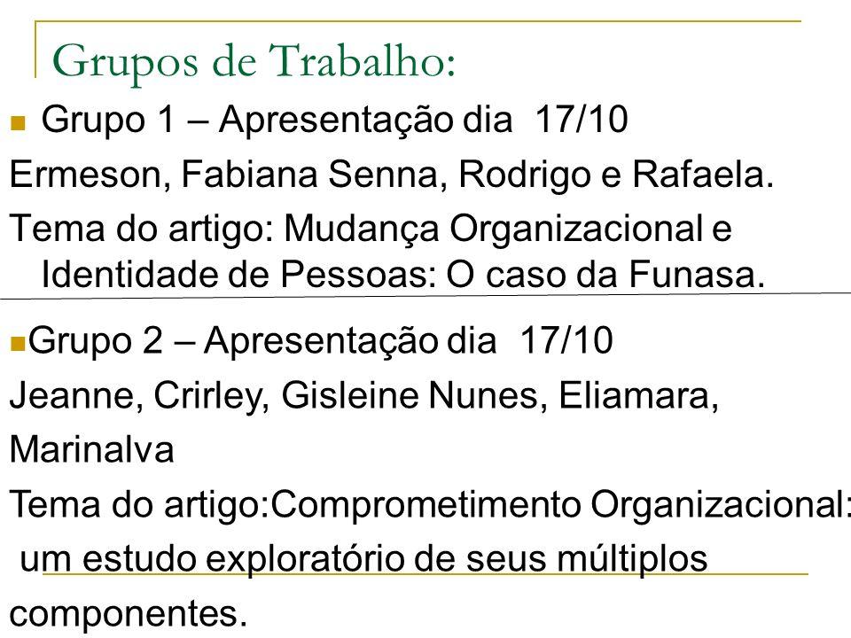 Grupos de Trabalho: Grupo 1 – Apresentação dia 17/10 Ermeson, Fabiana Senna, Rodrigo e Rafaela. Tema do artigo: Mudança Organizacional e Identidade de