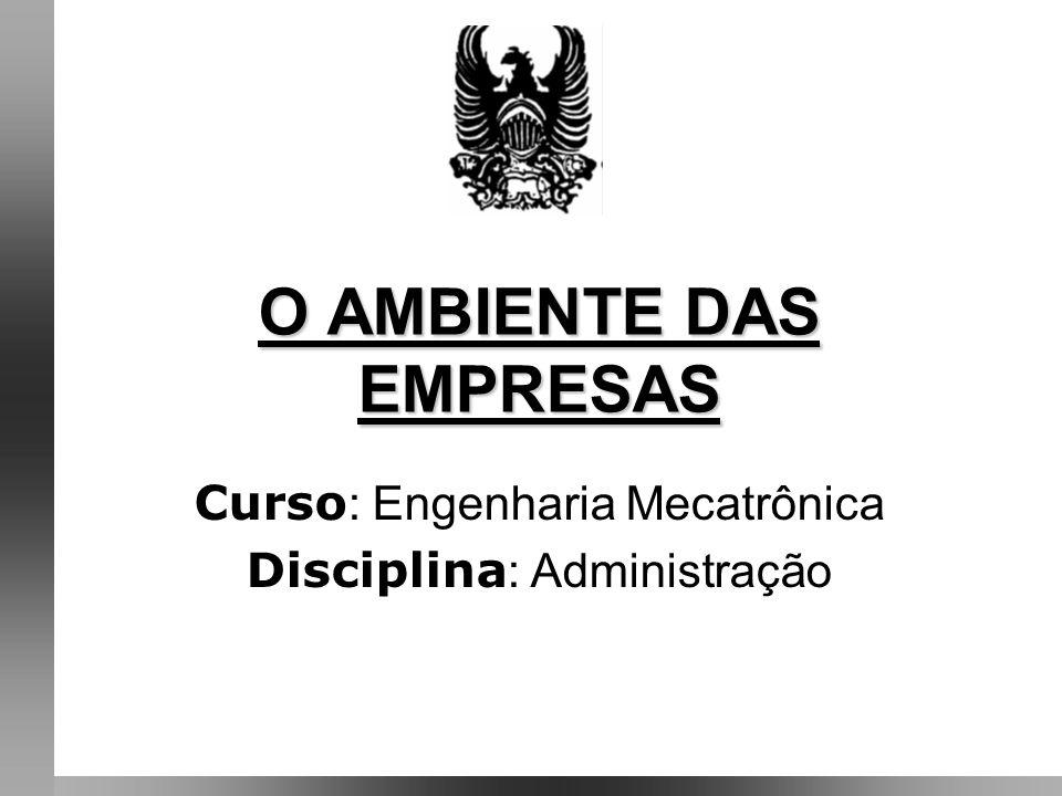 O AMBIENTE DAS EMPRESAS Curso : Engenharia Mecatrônica Disciplina : Administração