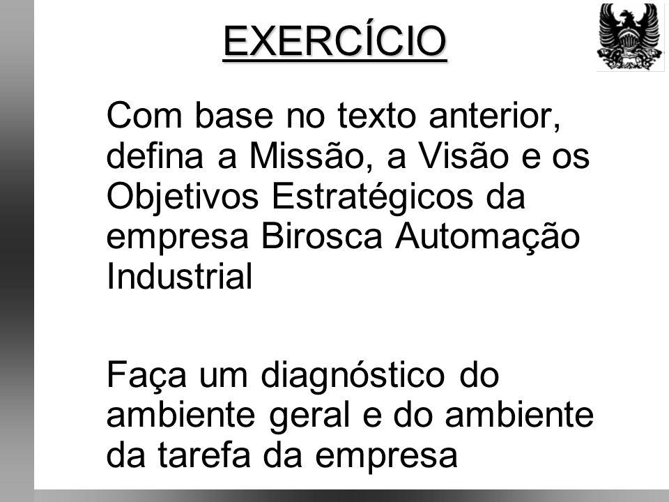 Com base no texto anterior, defina a Missão, a Visão e os Objetivos Estratégicos da empresa Birosca Automação Industrial Faça um diagnóstico do ambiente geral e do ambiente da tarefa da empresa EXERCÍCIO