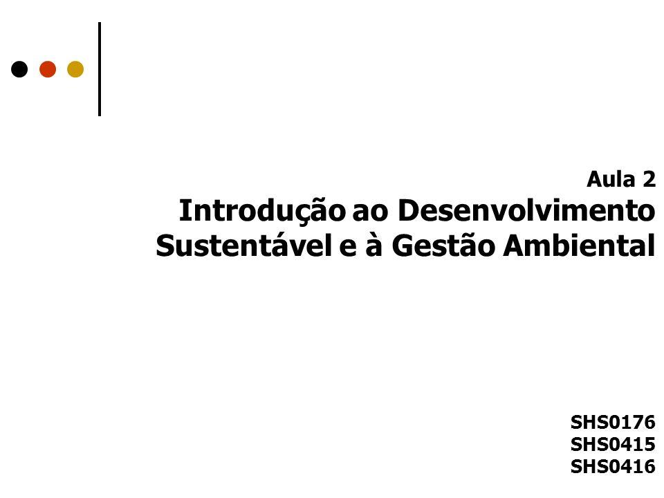 Aula 2 Introdução ao Desenvolvimento Sustentável e à Gestão Ambiental SHS0176 SHS0415 SHS0416