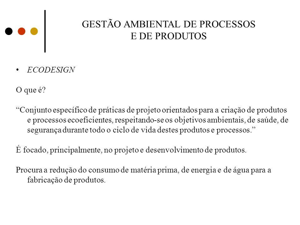 GESTÃO AMBIENTAL DE PROCESSOS E DE PRODUTOS ECODESIGN O que é? Conjunto específico de práticas de projeto orientados para a criação de produtos e proc