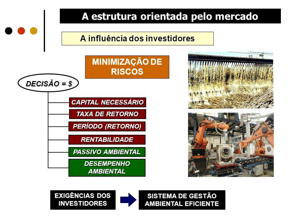 A estrutura orientada pelo mercado DECISÃO = $ CAPITAL NECESSÁRIO TAXA DE RETORNO PERÍODO (RETORNO) RENTABILIDADE PASSIVO AMBIENTAL DESEMPENHO AMBIENT