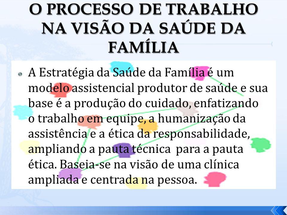 A Estratégia da Saúde da Família é um modelo assistencial produtor de saúde e sua base é a produção do cuidado, enfatizando o trabalho em equipe, a hu