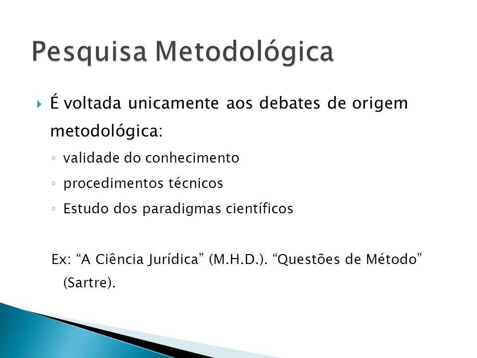 É voltada unicamente aos debates de origem metodológica: validade do conhecimento procedimentos técnicos Estudo dos paradigmas científicos Ex: A Ciênc