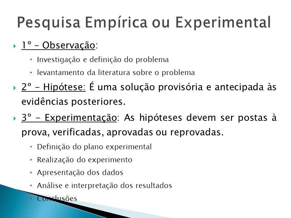 1º - Observação: Investigação e definição do problema levantamento da literatura sobre o problema 2º - Hipótese: É uma solução provisória e antecipada