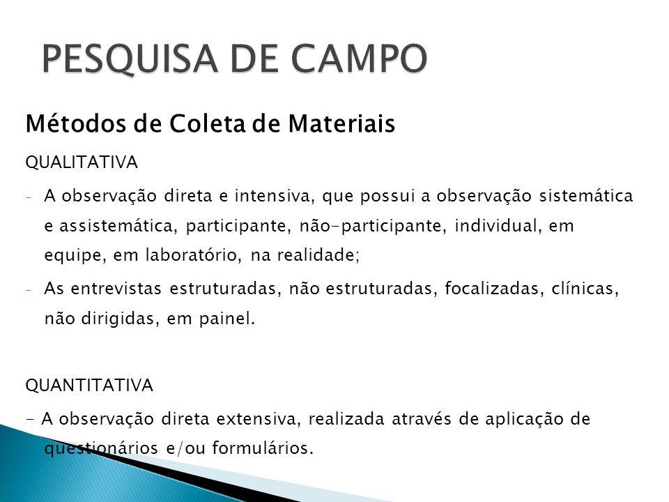 Métodos de Coleta de Materiais QUALITATIVA - A observação direta e intensiva, que possui a observação sistemática e assistemática, participante, não-p