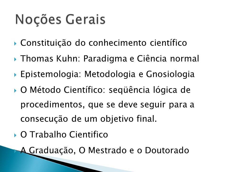Constituição do conhecimento científico Thomas Kuhn: Paradigma e Ciência normal Epistemologia: Metodologia e Gnosiologia O Método Científico: seqüênci