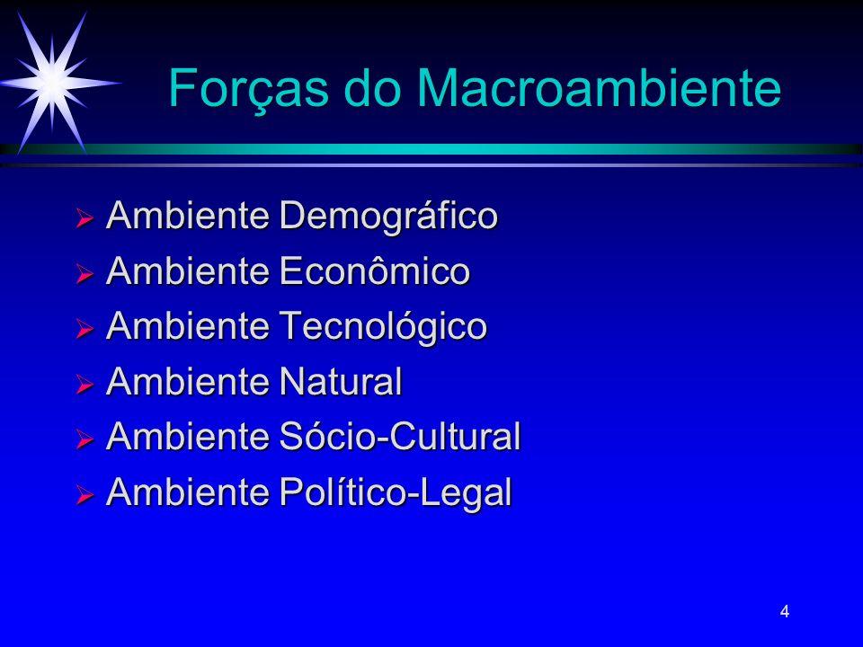 4 Forças do Macroambiente Ambiente Demográfico Ambiente Demográfico Ambiente Econômico Ambiente Econômico Ambiente Tecnológico Ambiente Tecnológico Am