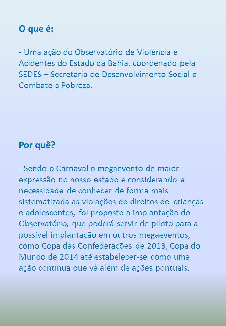 O que é: - Uma ação do Observatório de Violência e Acidentes do Estado da Bahia, coordenado pela SEDES – Secretaria de Desenvolvimento Social e Combat
