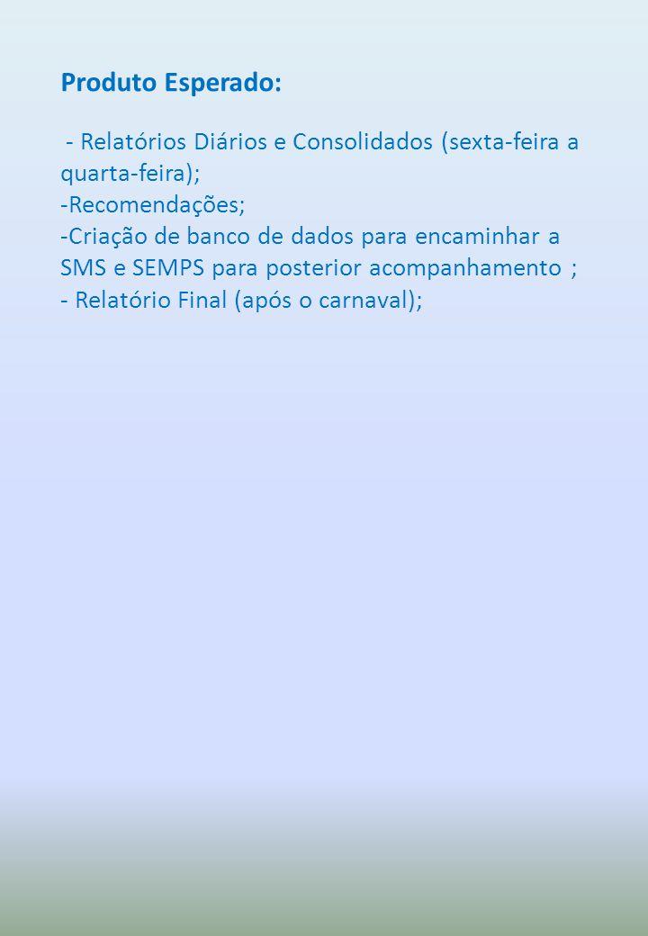 Produto Esperado: - Relatórios Diários e Consolidados (sexta-feira a quarta-feira); -Recomendações; -Criação de banco de dados para encaminhar a SMS e