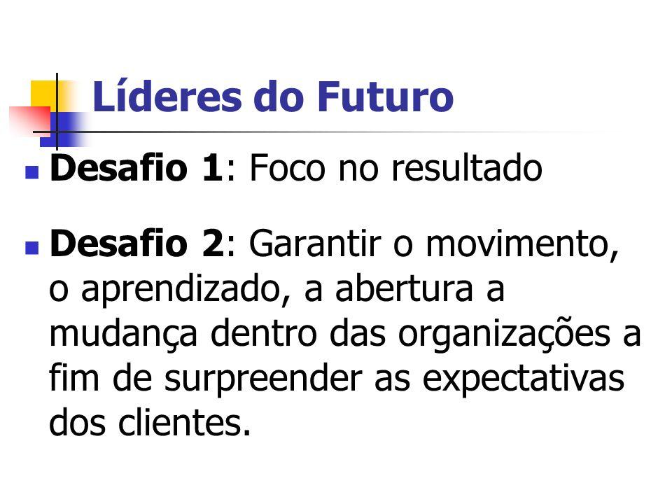 Líderes do Futuro Desafio 1: Foco no resultado Desafio 2: Garantir o movimento, o aprendizado, a abertura a mudança dentro das organizações a fim de s
