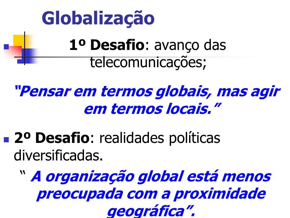Globalização 1º Desafio: avanço das telecomunicações; Pensar em termos globais, mas agir em termos locais. 2º Desafio: realidades políticas diversific