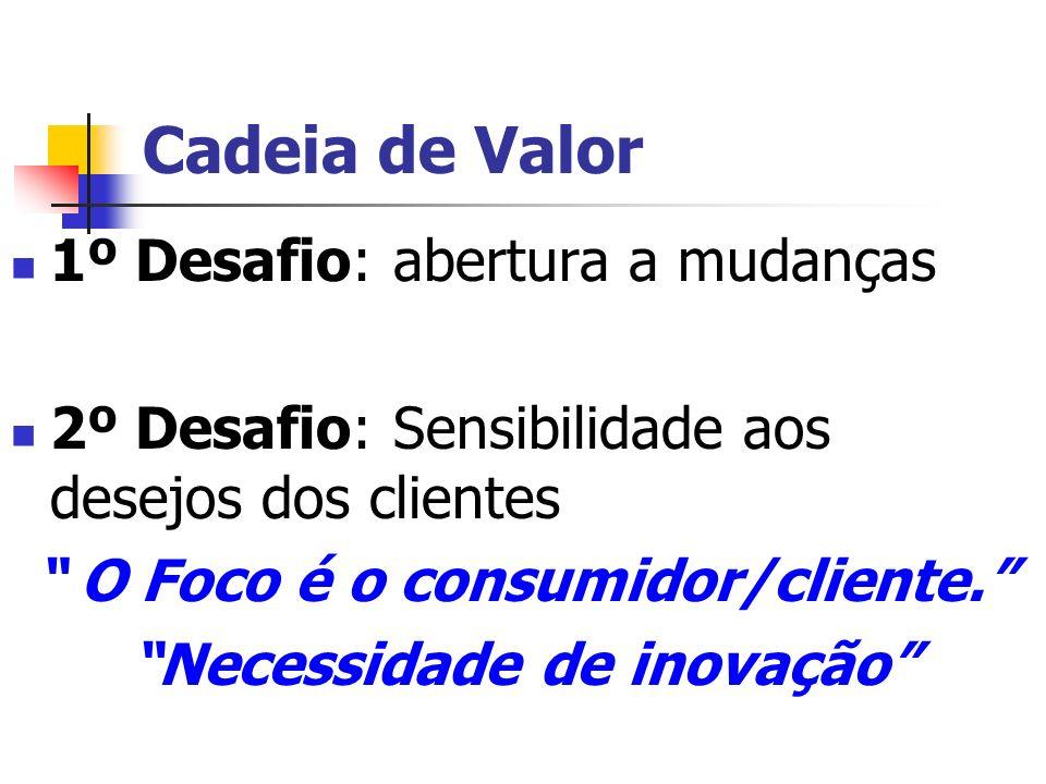 Cadeia de Valor 1º Desafio: abertura a mudanças 2º Desafio: Sensibilidade aos desejos dos clientes O Foco é o consumidor/cliente. Necessidade de inova