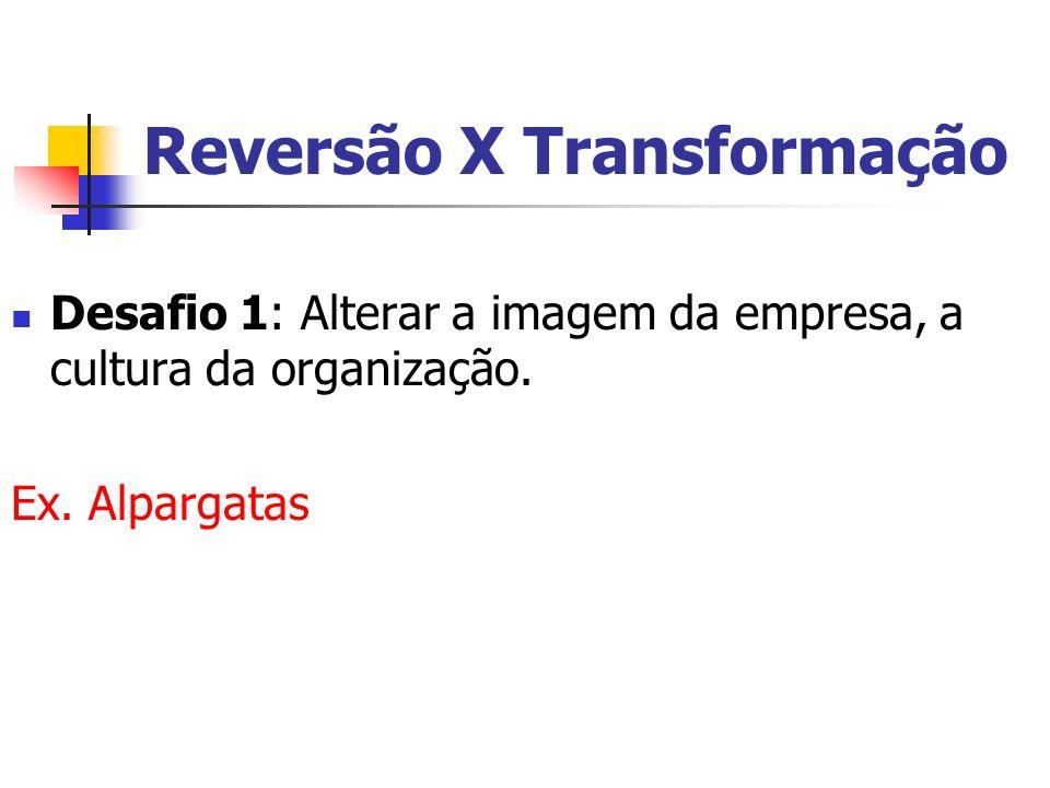 Reversão X Transformação Desafio 1: Alterar a imagem da empresa, a cultura da organização. Ex. Alpargatas