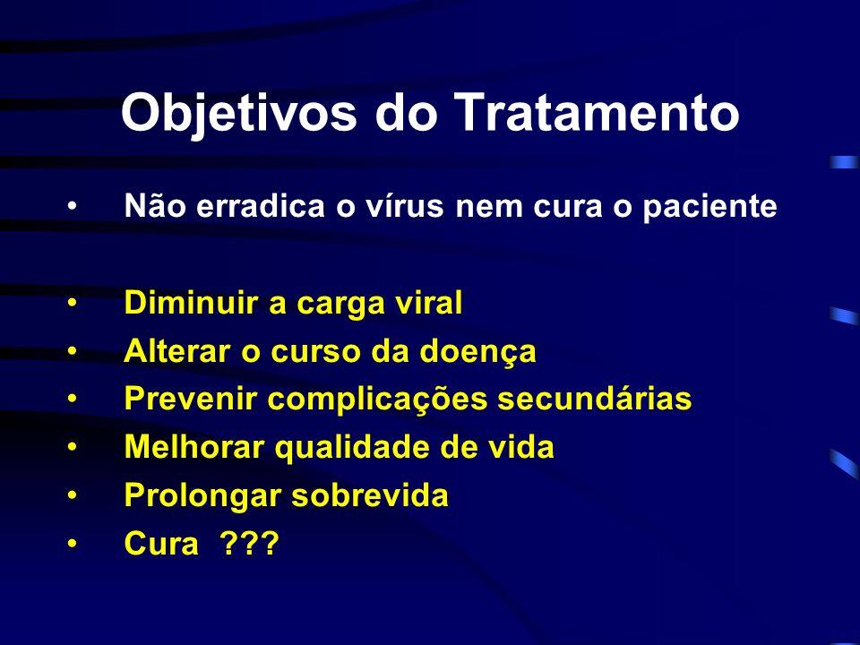 Objetivos do Tratamento Não erradica o vírus nem cura o paciente Diminuir a carga viral Alterar o curso da doença Prevenir complicações secundárias Me