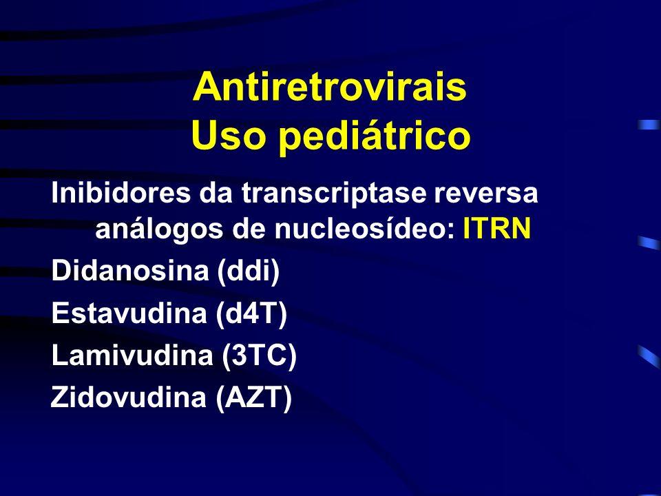 Antiretrovirais Uso pediátrico Inibidores da transcriptase reversa análogos de nucleosídeo: ITRN Didanosina (ddi) Estavudina (d4T) Lamivudina (3TC) Zi