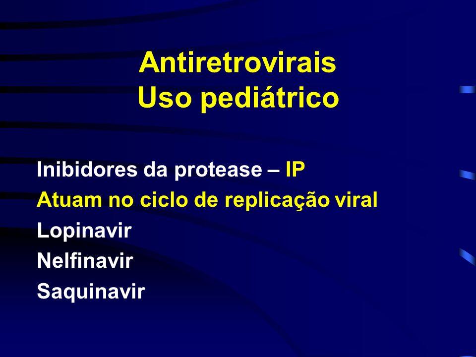Antiretrovirais Uso pediátrico Inibidores da protease – IP Atuam no ciclo de replicação viral Lopinavir Nelfinavir Saquinavir