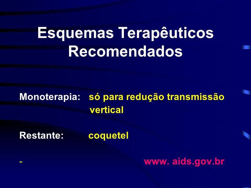 Esquemas Terapêuticos Recomendados Monoterapia: só para redução transmissão vertical Restante: coquetel - www. aids.gov.br