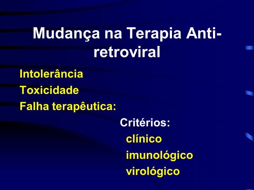 Mudança na Terapia Anti- retroviral Intolerância Toxicidade Falha terapêutica: Critérios: clínico imunológico virológico